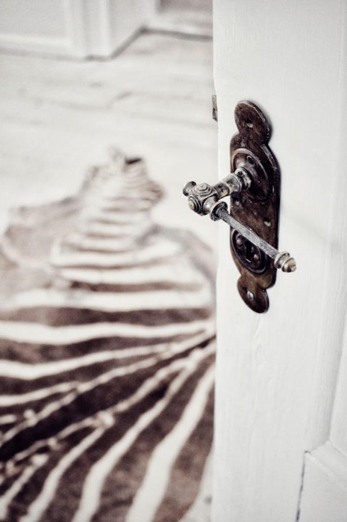 Sebraskinn på tregulv bak åpen dør.
