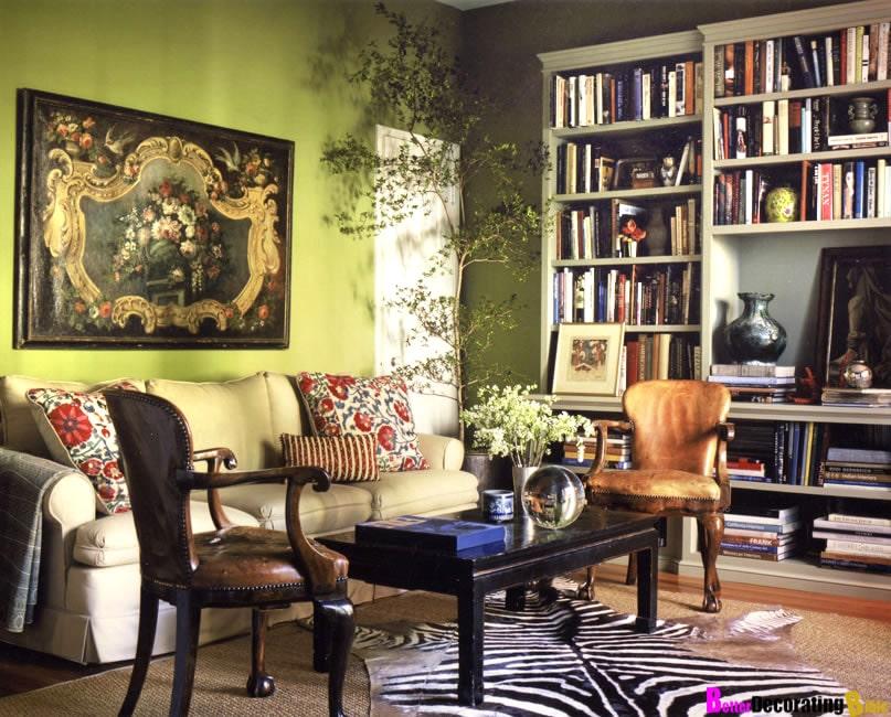 Grønt rom med sebraskinn