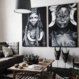 Afrikansk stil med sebraskinn og svart-hvitt bilder